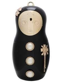 Black Doll Shaped Metallic Embellished Chain Shoulder Bag