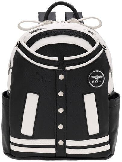 Black Cloth Shaped Studded PU Backpacks