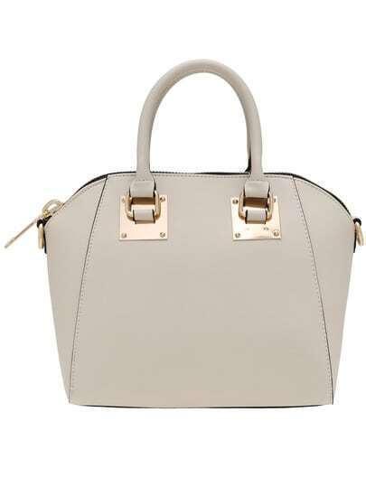 Beige Zipper Metallic Embellished PU Shoulder Bag