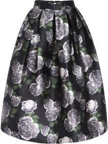 Multicolor Rose Print Flare Casual Skirt