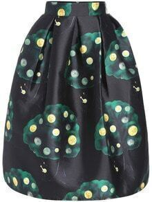 Multicolor Coin Print Flare Skirt