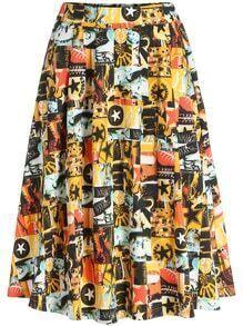 Multicolor Girl Print Midi Skirt