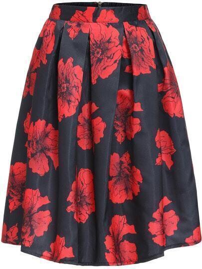 Red Black Floral Flare Midi Skirt