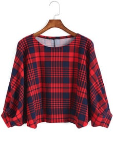 Red Blue Round Neck Plaid Crop Top