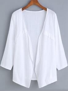 White Long Sleeve Casual Simple Blouse
