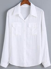 White Lapel Pockets Embellished Blouse
