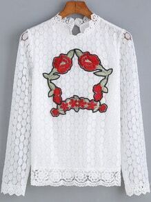 White Long Sleeve Embroidered Lace Blouse