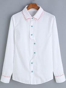 White Lapel Striped Trim Button-Down Blouse