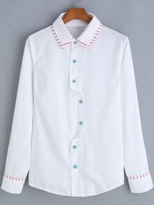 White Lapel Striped Trim Button-Down Blouse