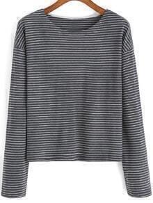 Grey White Round Neck Striped Crop Top