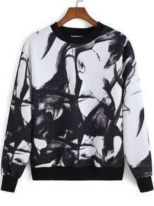 Black White Round Neck Ink Print Sweatshirt