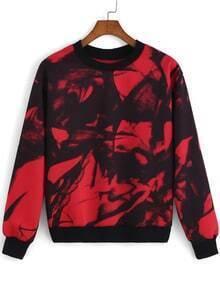 Red Black Round Neck Ink Print Sweatshirt