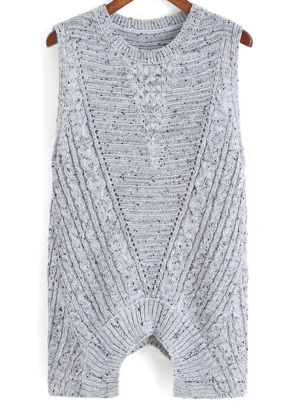 Grey Round Neck Backless Knit Sweater -SheIn(Sheinside)