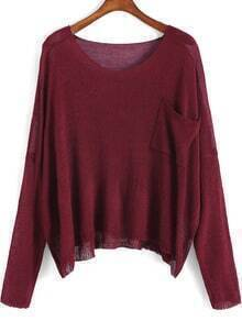 Wine Red Round Neck Pocket Loose Sweater