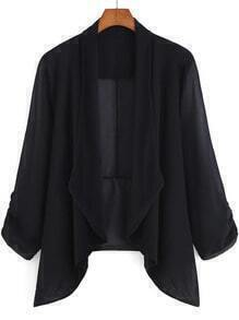 Black Pleated Cuff Chiffon Dip Hem Coat