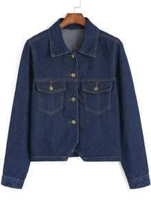 Navy Lapel Pockets Buttons Denim Crop Jacket