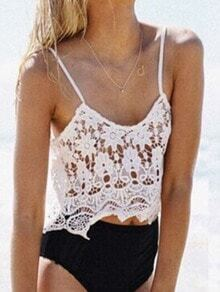 White Crochet Hollow Lace Cami Top