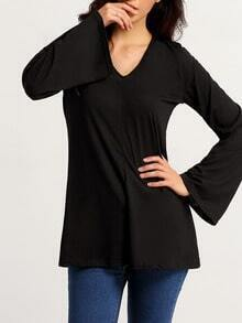 Black V Neck Bell Sleeve T-Shirt