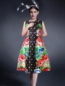 Multicolor Florals Polka Dot Dress