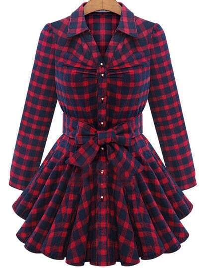 Red Lapel Plaid Bow Dress