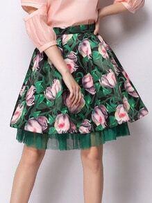 Green High Waist Florals Layered Skirt