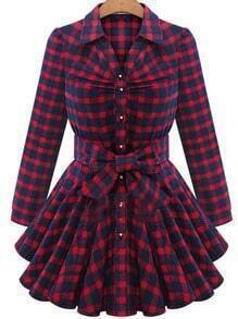 Red Lapel Plaid Bow Grid Knotted Blouses Dress
