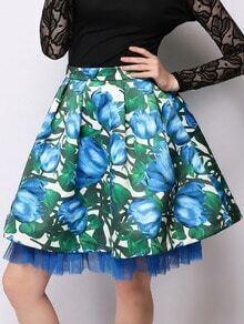 Blue High Waist Florals Layered Skirt