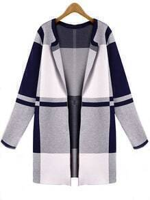 Color-block Plaid Coat