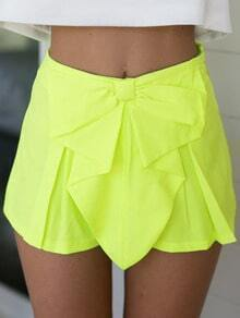 Neon Yellow Bow Ruffle Zipper Short