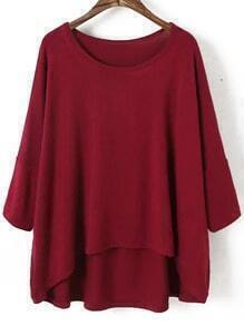 Red Round Neck Batwing Sleeve Dip Hem Blouse