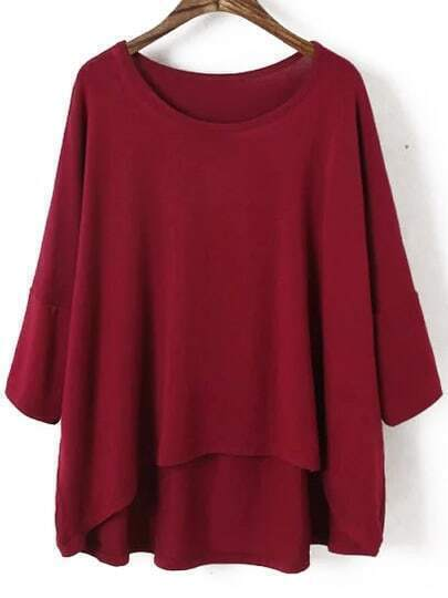 Red Round Neck Batwing Sleeve Dip Hem T-shirt