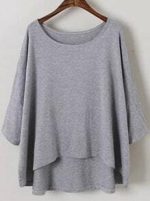 Grey Round Neck Batwing Sleeve Dip Hem Blouse