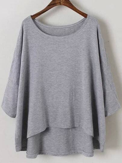 Grey Round Neck Batwing Sleeve Dip Hem T-shirt