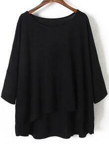 Black Round Neck Batwing Sleeve Dip Hem Blouse