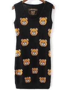 Black Round Neck Bear Print Tank Dress