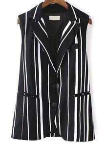Black White Lapel Vertical Stripe Blazer
