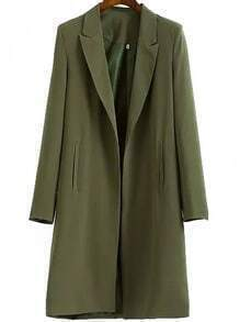 Army Green Notch Lapel Long Casual Blazer