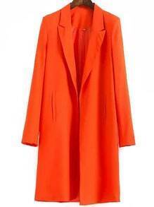Orange Notch Lapel Long Casual Blazer