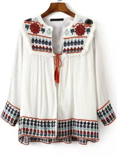Multicolor Long Sleeve Embroidered Coat