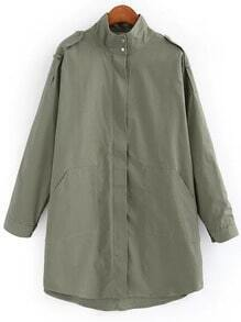 Army Green Stand Collar Epaulet Trench Coat