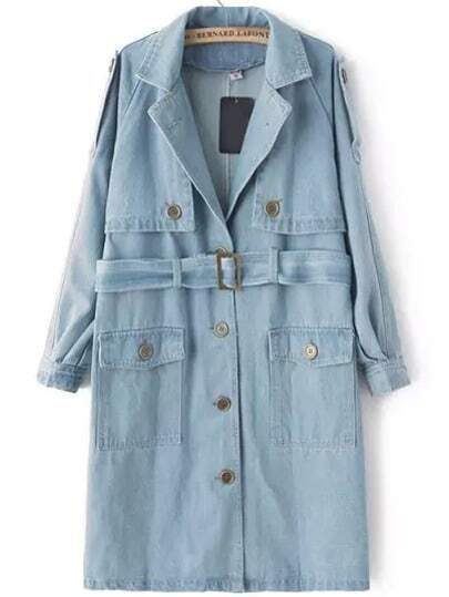 Blue Lapel Buttons Denim Trench Coat