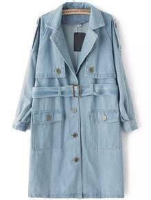 Blue Lapel Buttons Denim Trench Coat