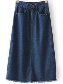 Navy High Waist Split Fringe Denim Skirt