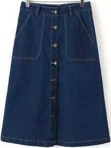 Navy Buttons Pockets Denim A Line Skirt