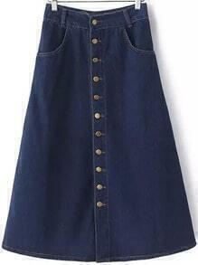Blue Buttons Pockets Denim A Line Skirt
