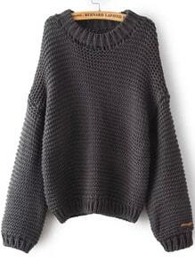 Grey Round Neck Chunky Loose Sweater