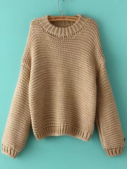 Khaki Round Neck Chunky Loose Sweater