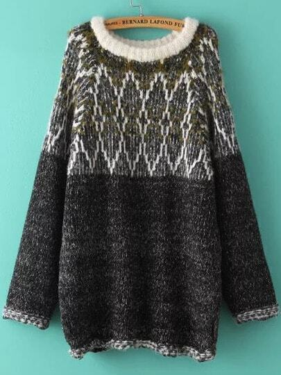 Multicolor Round Neck Tribal Vintage Sweater