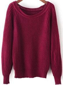 Wine Red Round Neck Vintage Knit Sweater