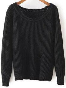 Black Round Neck Vintage Knit Sweater